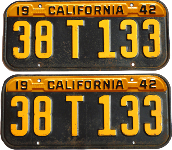 1941 1942 California License Plates